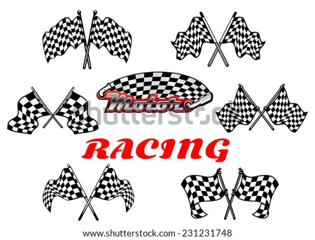 Heraldic vector black and white checkered racing flags showing crossed flags waving in the wind - stock vector