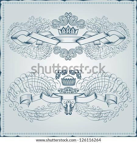 heraldic vintage royal banner element monogram engraving - stock vector