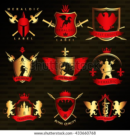Heraldic vintage stylish labels with shields swords lances lions unicorn warrior on black background isolated vector illustration  - stock vector
