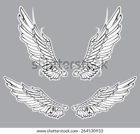 Heraldic Wings Set Vector Illustration