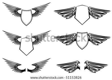 Heraldic wings with shields for design isolated on white or logo template. Jpeg version also available in gallery - stock vector