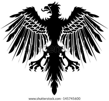 Heraldry black eagle - stock vector