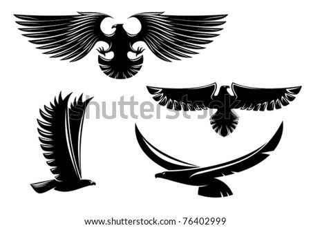 Heraldry eagle symbols and tattoo isolated on white, such a logo. Jpeg version also available in gallery