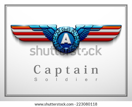 heraldry eagle wings Creative background abstract patriotism. USA Happy Independence memorial Day. Patriot vector Illustration.steel metal america chevron badge riband ribbon epaulettes shoulder loop - stock vector