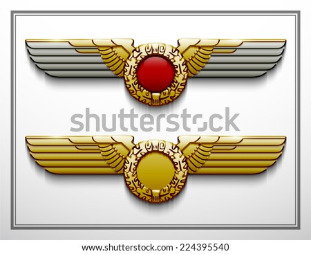 heraldry eagle wings vector Imperial isolated silhouette oak wreath parteiadler power force strength vigour greatness gold glossy freedom captain protect war badge patriotic army sticker honor air - stock vector