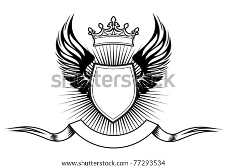 Heraldry elements with wings and ribbons for design. Jpeg version also available - stock vector