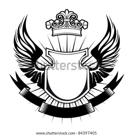 Heraldry elements with wings and ribbons for design. Rasterized version also available in gallery - stock vector