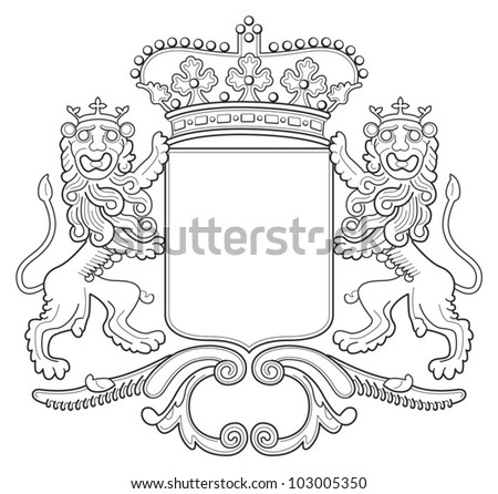 Heraldry lion shield - coat of arms - stock vector