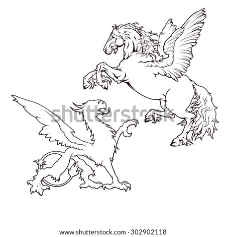 Heraldry set. Pegasus and Griffin
