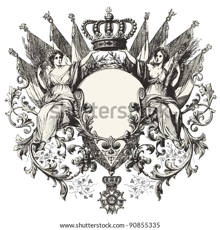 "Heraldry - Vintage engraved illustration - ""Les Francais"" by L.Curmer in 1842 France - stock vector"