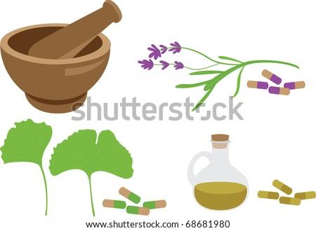 herbal mdeicine set - stock vector