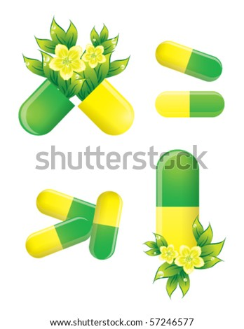 Herbal pills, alternative medicine, vector EPS 10 - stock vector