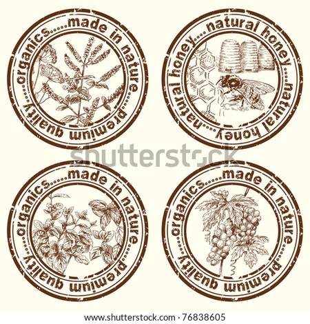 herbal stamps - stock vector