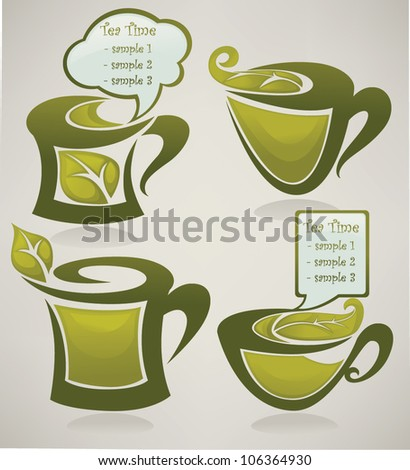 herbal tea and menu,  vector collection of cups full of organic drinks - stock vector