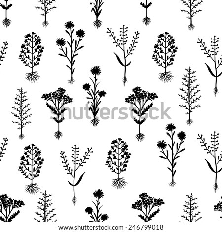 Herbarium flowers with roots, seamless pattern, vector illustration - stock vector