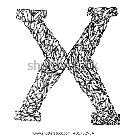 Herbarium font, type. Herbal vector letters. Letter X. Can be used as adult coloring book, coloring page.