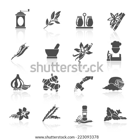 Herbs and spices black icons set of vanilla basil nutmeg isolated vector illustration - stock vector