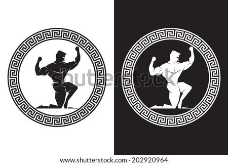 Hercules inside a Greek Key front view - stock vector