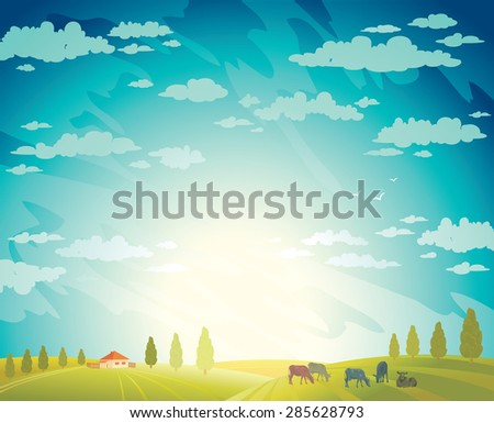 Herd of cows and green field on a cloudy sky background.Vector rural summer landscape.