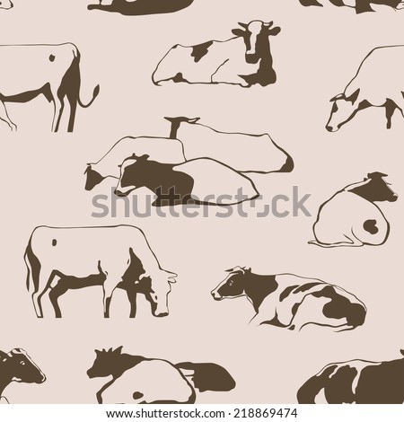 Herd of cows seamless pattern with standing, lying, relaxing and nipping the grass stylized cows in different poses vector - stock vector