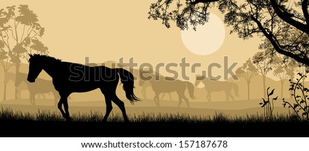 Herd of horses silhouette on beautiful landscape, vector illustration - stock vector