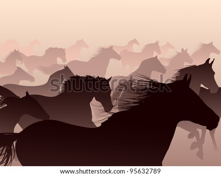 Herd of horses skipping in a smoke. - stock vector