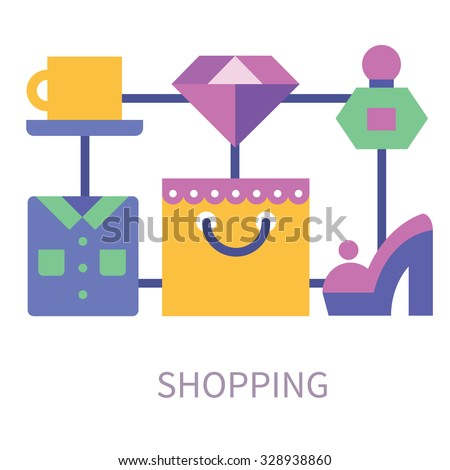 Here comes the Black Friday! Shopping stuff: package, shirt, shoe, jewelry, ruby, coffee for relax. Stock vector flat illustration.  - stock vector