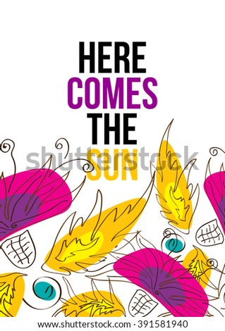here comes sun beautiful typographic design stock vector 391581940 rh shutterstock com here comes the sun clipart