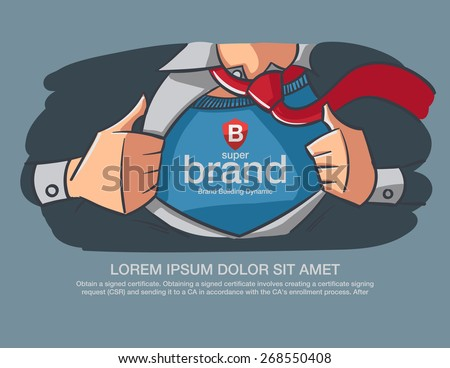 Hero Business supper brand message present on the chest. - stock vector