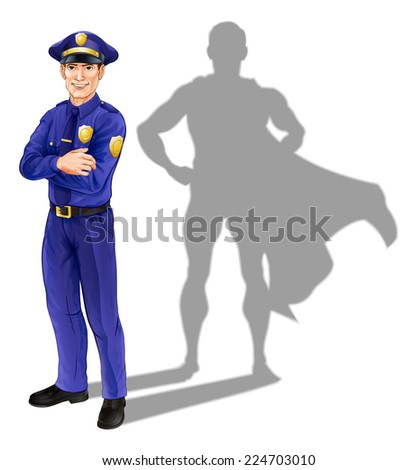 Hero policeman concept, illustration of a confident handsome policeman or police officer standing with his arms folded with superhero shadow - stock vector