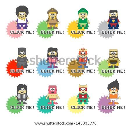 hero super guy game click - stock vector