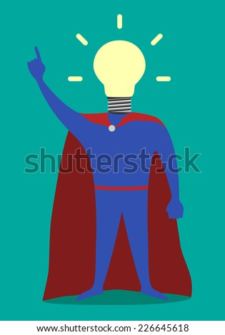 Hero with light bulb instead of head in moment of insight, EPS 10 vector illustration - stock vector