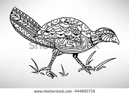 Heron. Hand-drawn with ethnic pattern. Coloring page - isolated on a white background. Zendoodle patterns. Vector illustration.
