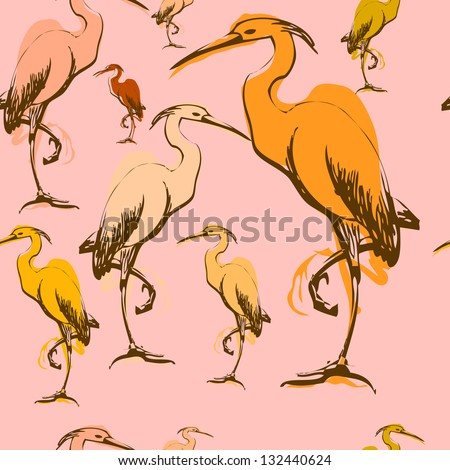 heron wallpaper color - stock vector