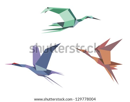 Herons, cranes and storks in origami style isolated on white background. Jpeg version also available in gallery - stock vector