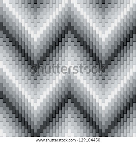 Herringbone Pattern in Grey has dimensional detail. AI8 eps File: CMYK colors are grouped for easy editing. - stock vector