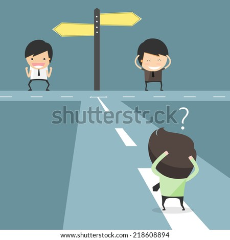 Hesitate to choose path. decision of businessmen  - stock vector
