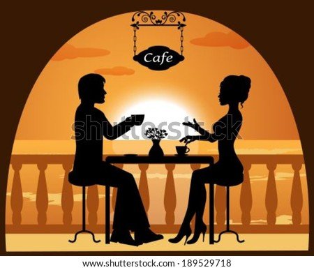 heterosexual couple in a cafe on the beach at sunset - stock vector