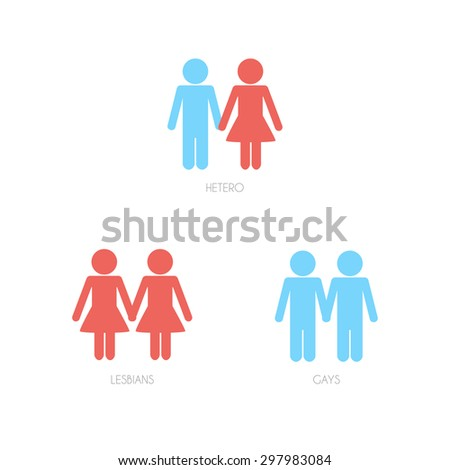 Heterosexual, lesbian and gay couples. Vector illustration. - stock vector