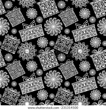 Hew year and Christmas seamless pattern with snowflake and gift box. Abstract holidays ornament. Repeating print background texture. Fabric design. Wallpaper  - stock vector