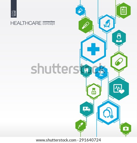 Hexagon abstract. Medicine background with lines, polygons, and integrate flat icons. Infographic concept with medical, health, healthcare, nurse, DNA, pills connected symbols. Vector illustration. - stock vector