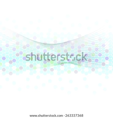 hexagon and abstract line on white background - stock vector