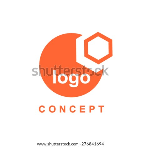 Hexagon and circle abstract logo concept - stock vector