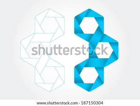 Hexagon bands with 3D effect in vector format. - stock vector