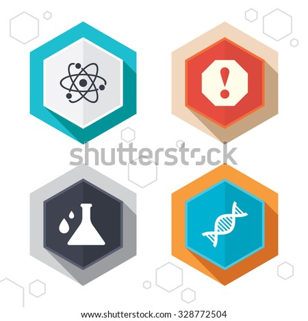 Hexagon buttons. Attention and DNA icons. Chemistry flask sign. Atom symbol. Labels with shadow. Vector - stock vector