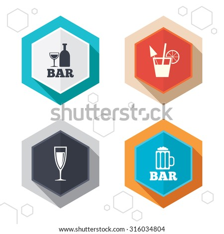 Hexagon buttons. Bar or Pub icons. Glass of beer and champagne signs. Alcohol drinks and cocktail symbols. Labels with shadow. Vector - stock vector