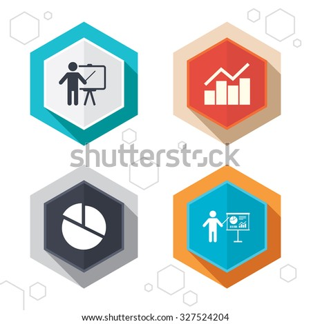 Hexagon buttons. Diagram graph Pie chart icon. Presentation billboard symbol. Man standing with pointer sign. Labels with shadow. Vector
