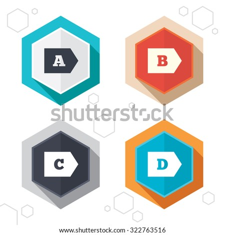 Hexagon Buttons Energy Efficiency Class Icons Stock Vector 322763516