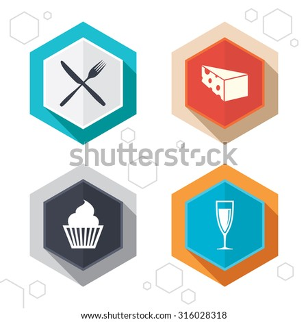 Hexagon buttons. Food icons. Muffin cupcake symbol. Fork and knife sign. Glass of champagne or wine. Slice of cheese. Labels with shadow. Vector - stock vector