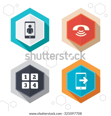 Hexagon buttons. Phone icons. Smartphone video call sign. Call center support symbol. Cellphone keyboard symbol. Labels with shadow. Vector